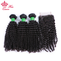 Queen Hair Mongolian Kinky Curly 3 Bundles With Lace Closure 100% Human Hair Bundles With Closure Free Part Remy Hair Weaves