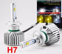 1 Set H7 60W 8000LM Tri Color LED Headlight CSP Chips Golden Yellow White 3000K 4300K
