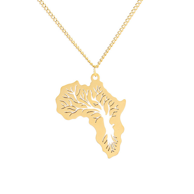 Gold silver color stainless steel africa pendant necklace chain tree gold silver color stainless steel africa pendant necklace chain tree of life ethiopian african map for aloadofball Images