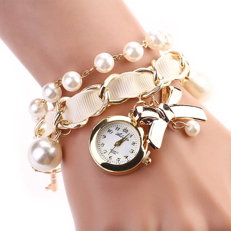 Fashion bow bracelet watch women luxury pearl watch ladies fabric classic watch horloges vrouwen for Pearl watches