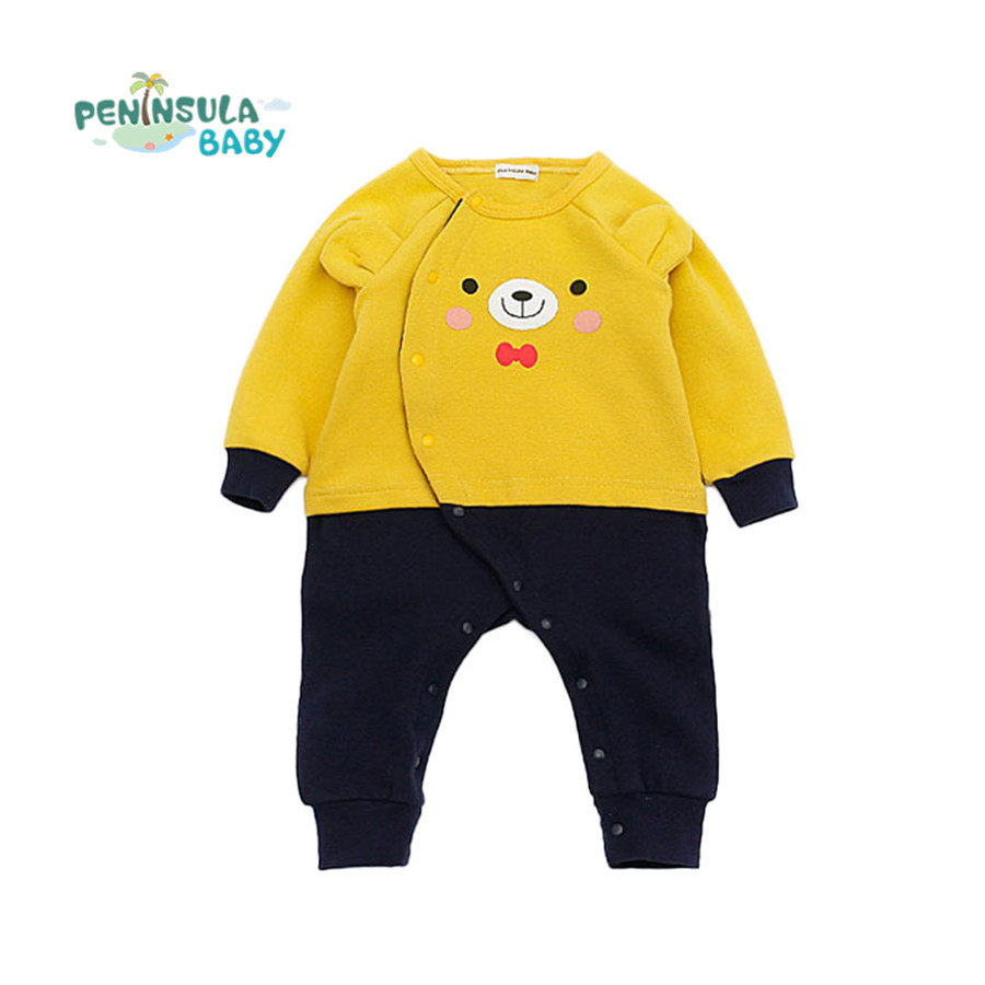 Cartoon Bear Baby Rompers Cotton Long Sleeve 0-24M Baby Clothing Overalls for Newborn Baby Clothes Boy Girl Romper Jumpsuit baby overalls long sleeve rompers clothing cotton dog anima 2017 new autumn winter newborn girl boy jumpsuit hat indoor clothes