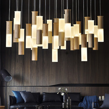 Artpad Postmodern Art Design Cord Hanging Lamp Nordic Wood 1/13/20 Light Chandelier with G4 Bulb Dining room Bar Restaurant