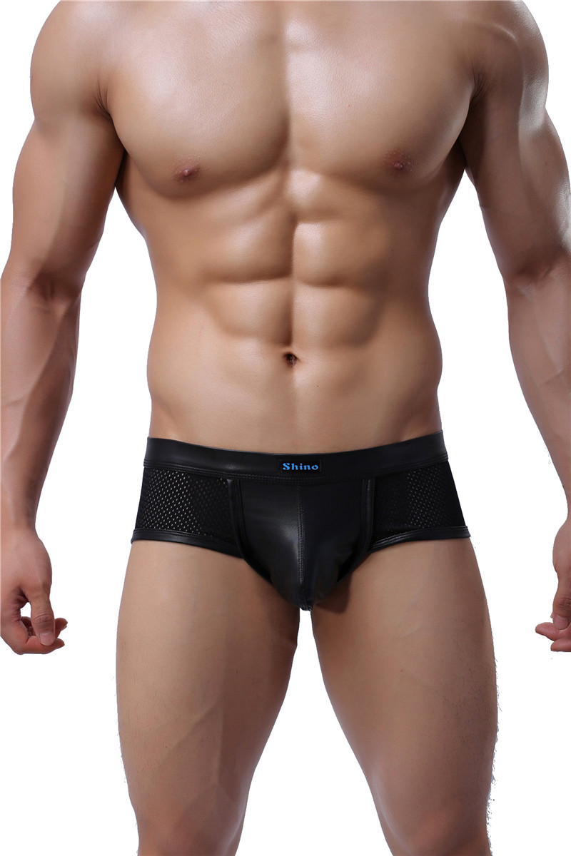 fashion brand black leather men sexy penis pouch mini breathable
