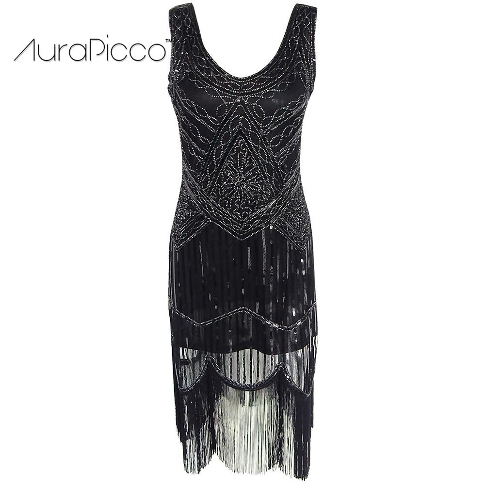 1920s Gatsby Vintage Sequin Fringe Cocktail Flapper Dress Retro Sleeveless Midi Black Party Dresses for Women 2018 New AuraPicco