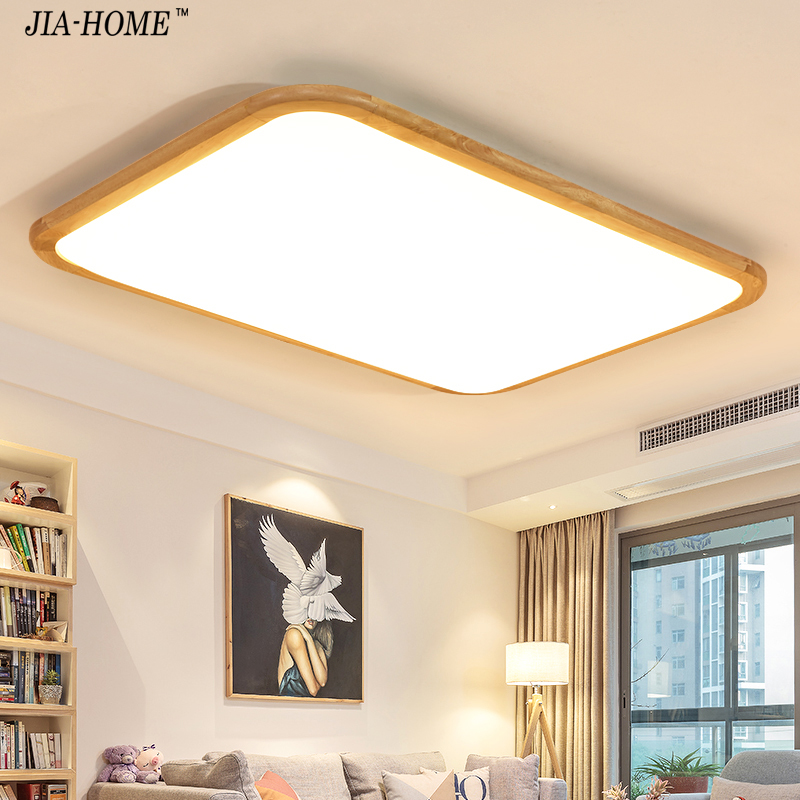 Surface mount LED Ceiling Lights For Living Room Bedroom indoor home fixture Square Wooden Ceiling Lamp De Techo Plafond Abajur цена