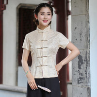New Arrival Summer Beige Chinese Style Lace Women Tang Suit Tops Blouse Traditional Elegant Slim Shirt M L XL XXL XXXL 2520 4
