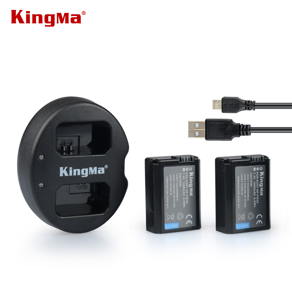 KingMa NP FW50 NPFW50 Dual Charger + 2* NP-FW50 FW50 Battery bateria AKKU For Sony Alpha A33 NEX-7/C3/5 SLT-A55,NPFW50 kingma dual 2 channel np fw50 battery charger for sony a5000 a5100