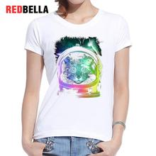 REDBELLA 2017 Tumblr Clothing Vintage Art Graphic Design Paint Rainbow Cats Gatos Women T-shirt Artistic Drawing Watercolor Tops