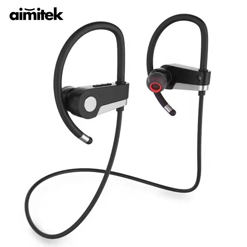 Aimitek C6 Sport Headset Wireless Earphone Sweatproof Noise Canceling Headphone Stereo Earbuds Handsfree for iPhone Xiaomi Phone