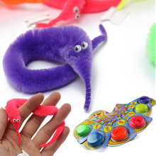 6Pcs Twisty Fuzzy Worm Wiggle Moving Sea Horse Kids Children Trick Toy Six Color 22cm Easy Play