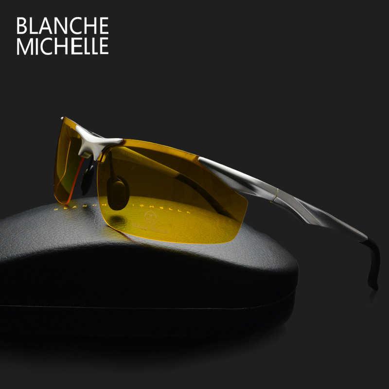 9f030139aa 2018 Aluminum Magnesium Polarized Sunglasses Men Rectangle UV400 Driving  Sun Glasses Night Vision Goggles oculos de