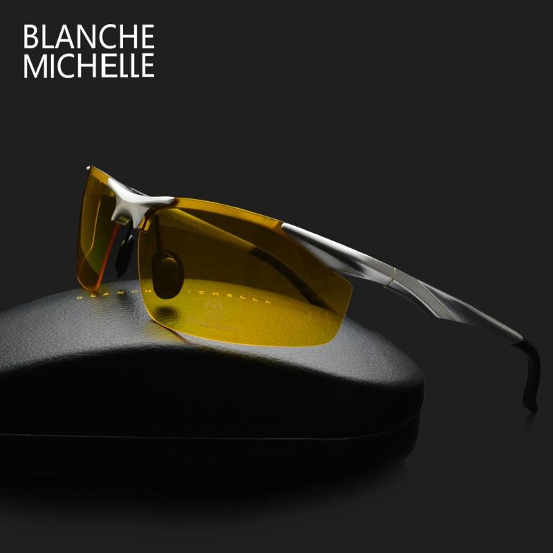 2019 للرؤية الليلية الألومنيوم نظارات الرجال الاستقطاب uv400 نظارات الشمس الرجال القيادة نظارات oculos gafas دي سول هومبر مع مربع