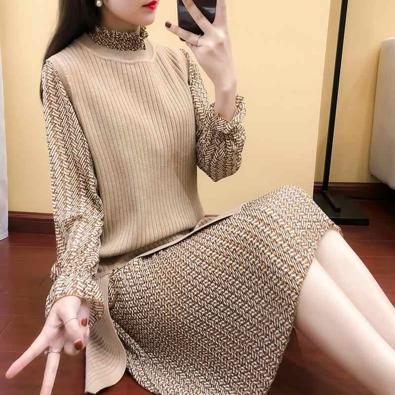 2019 spring and autumn new suit female winter two-piece pullover sweater dress clothes knit bottoming vestidos