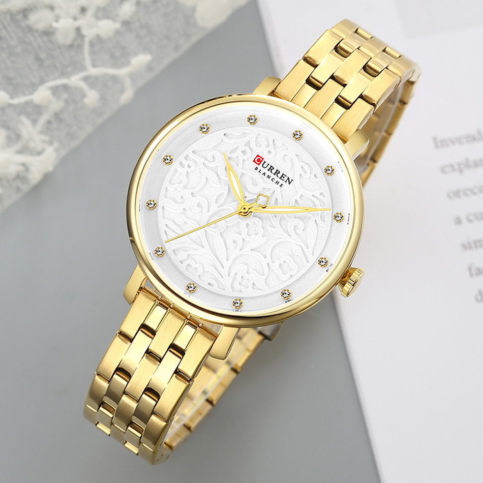 CURREN Elegant Women Watches Golden Small Dial Gold Wrist Watches For Women Full Steel Women's Wrist Watches Bayan Kol Saati(China)