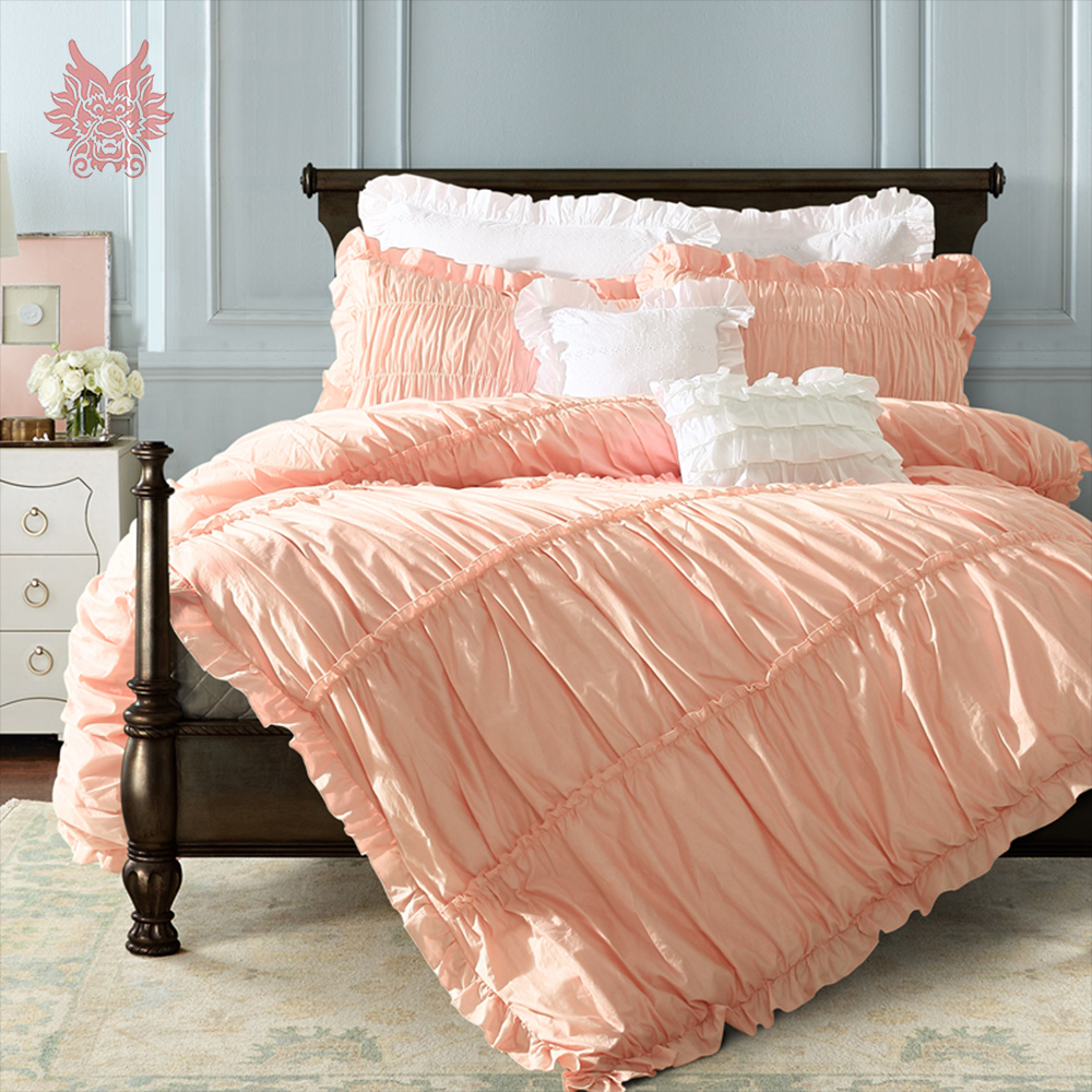 Solid Grey Bedding - Princess palace purfle decor bedding set pink grey white solid 100 pure cotton duvet comforter