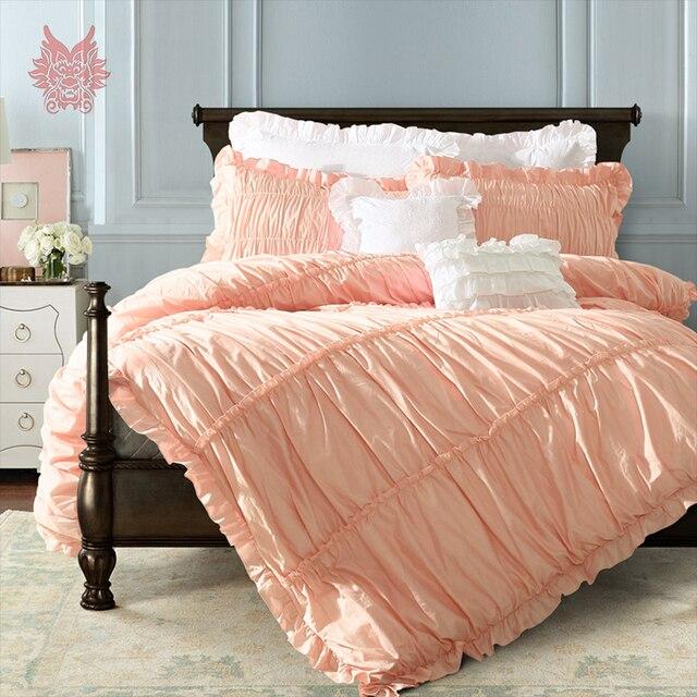 Prinzessin Palast Purfle Decor Bettwäsche Set Rosa Grau Weiß Solide