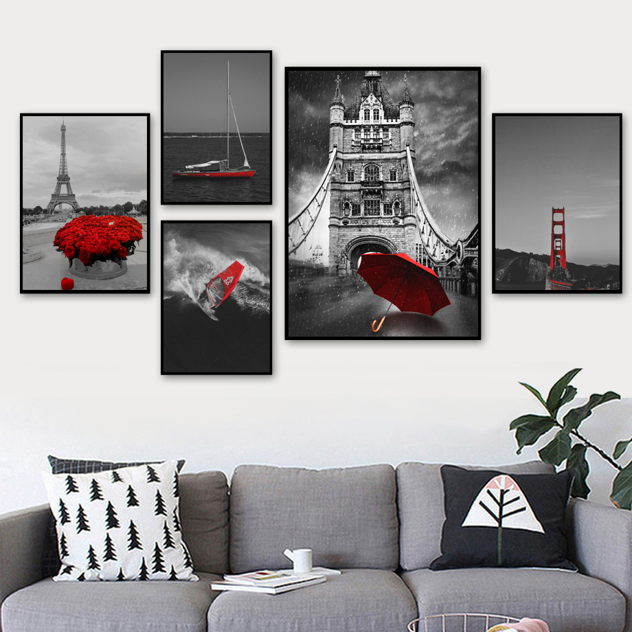 Umbrella Sailboat Rose Paris Tower Landscape Wall Art Canvas Painting Nordic Posters And Prints Pictures For Living Room