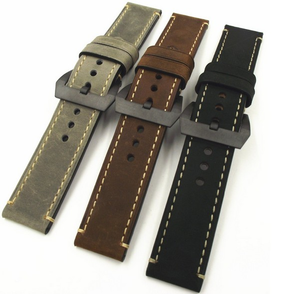 Wholesale 10PCS/lot 20MM 22MM 24MM 26MM genuine leather Crazy horse leather Watch band watch strap man watch straps black buckle 22mm 24mm black mens genuine leather watch strap band