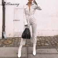 Sollinarry Long Sleeve Jumpsuit for Women Casual Cotton Jumpsuit High Waist Belt Jumpsuit 2018 Autumn Winter