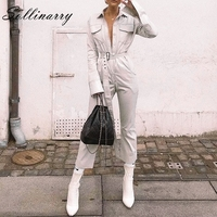 Sollinarry New Fashion Long Sleeve Jumpsuit for Women 2019 3 Colors Casual Cotton Jumpsuit Women High Waist Belt Romper Overalls