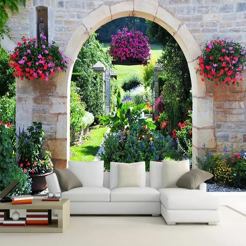 Custom Wall Mural Wallpaper Printing Mediterranean Garden Scenery 3D Photo Wall Paper Living Room Bedroom Wall Murals Home Decor