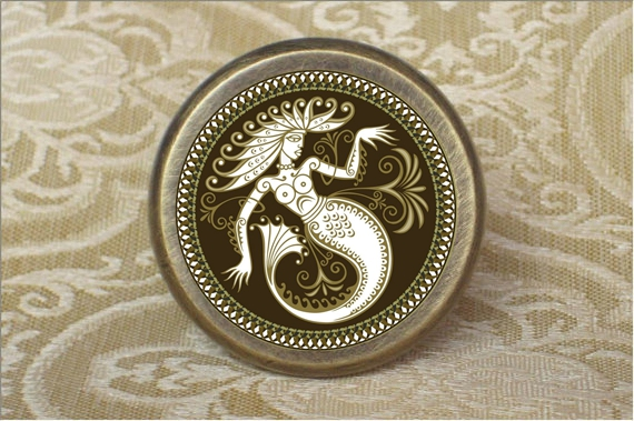 Retro Mermaid Knobs Drawer Dresser Knob Handmade Cupboard Pulls Knob Chic Kitchen Cabinet Door Handle Furniture Hardware 128mm phoenix kitchen cabinet antique hanles furniture dresser vintage knob cabinet cupboard closet drawer handle pulls rongjing
