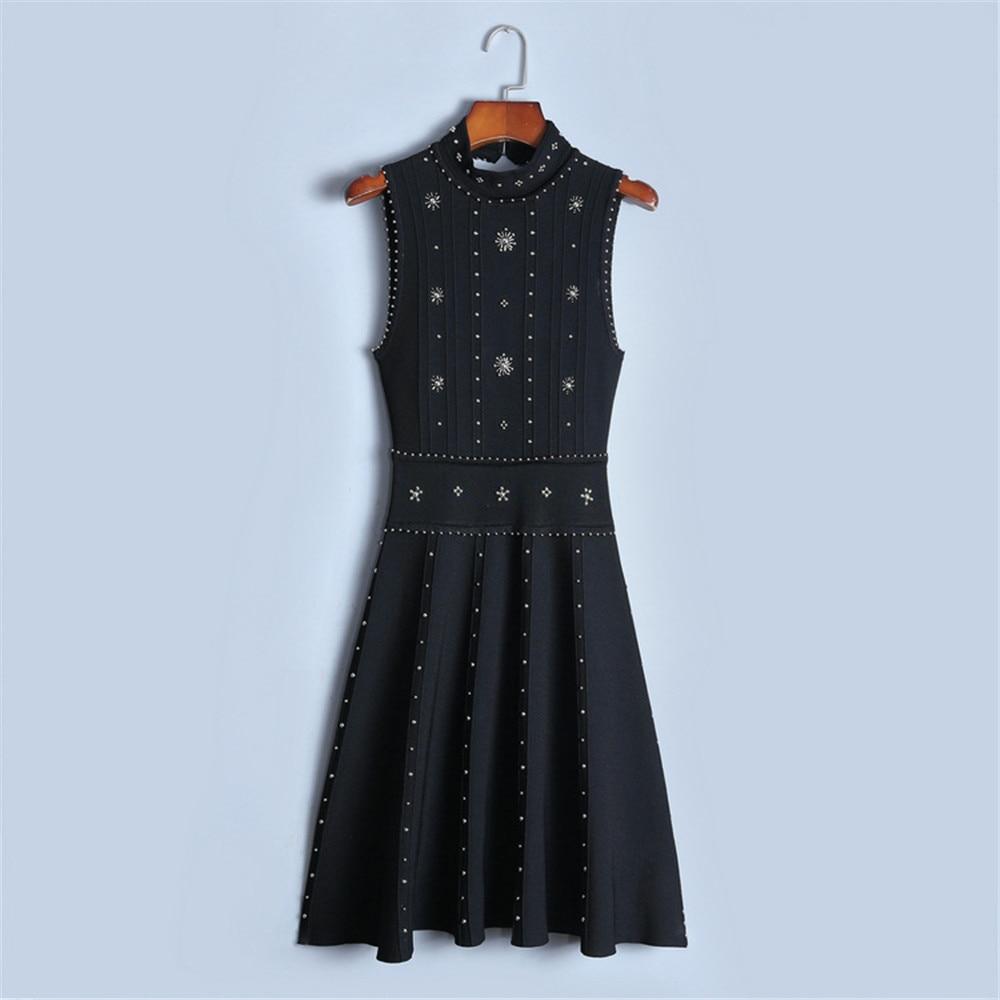 Tunjuefs Runway Luxury Sleeveless Peplumn Dress Women Sundress Slim Beading Knit Dress Bodycon Elegant Sexy Backless