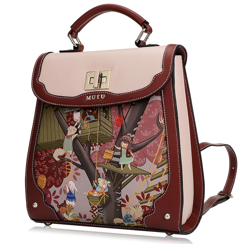 Women Backpack Preppy Schoolbag Travel Bag Totes Borsa Snowjenny Sj Brand Cartoon Treehouse Fairy Tales Print