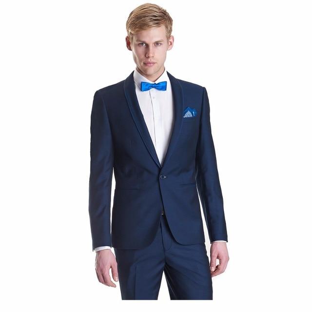d1b00b20d71a0 Últimas escudo Pant diseños hechos a medida azul marino hombres traje de  boda Formal chaqueta novio