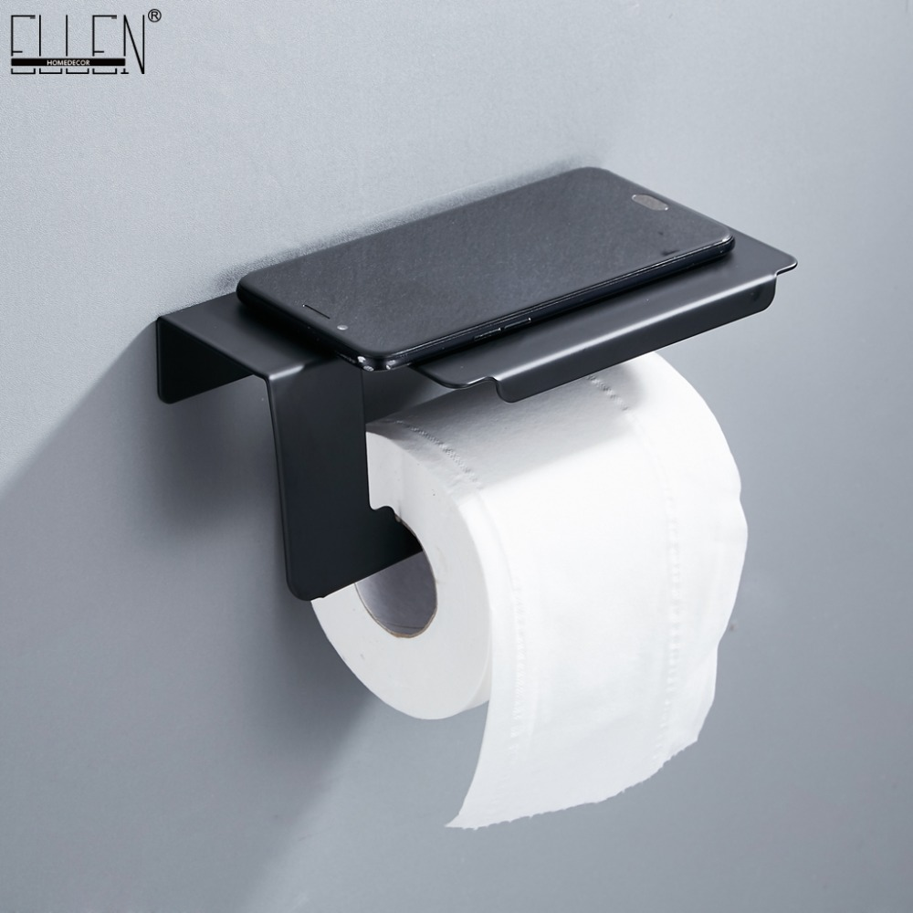 Stainless Steel Toilet Paper Holder Wall Mount Tissue Roll Hanger Black Paper Holder Stainless Steel Bathroom Accessories ELF002