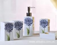 Simple Violet 5 Pcs Ceramic Bathroom Set Toothbrush Holder Soap Dispenser Soap Dish Tooth Mug Bathroom