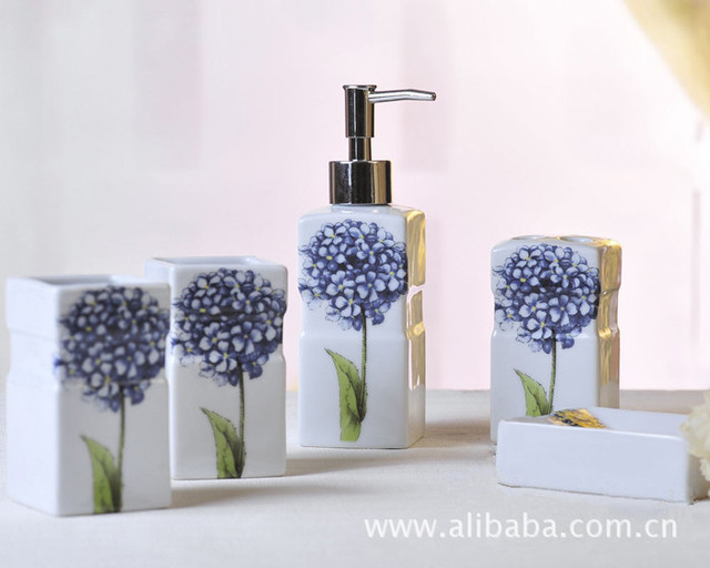 five piece blue hydrangea pattern ceramic bathroom set bathroom amenities toothbrush holder soap dispenser toiletries - Bathroom Sets