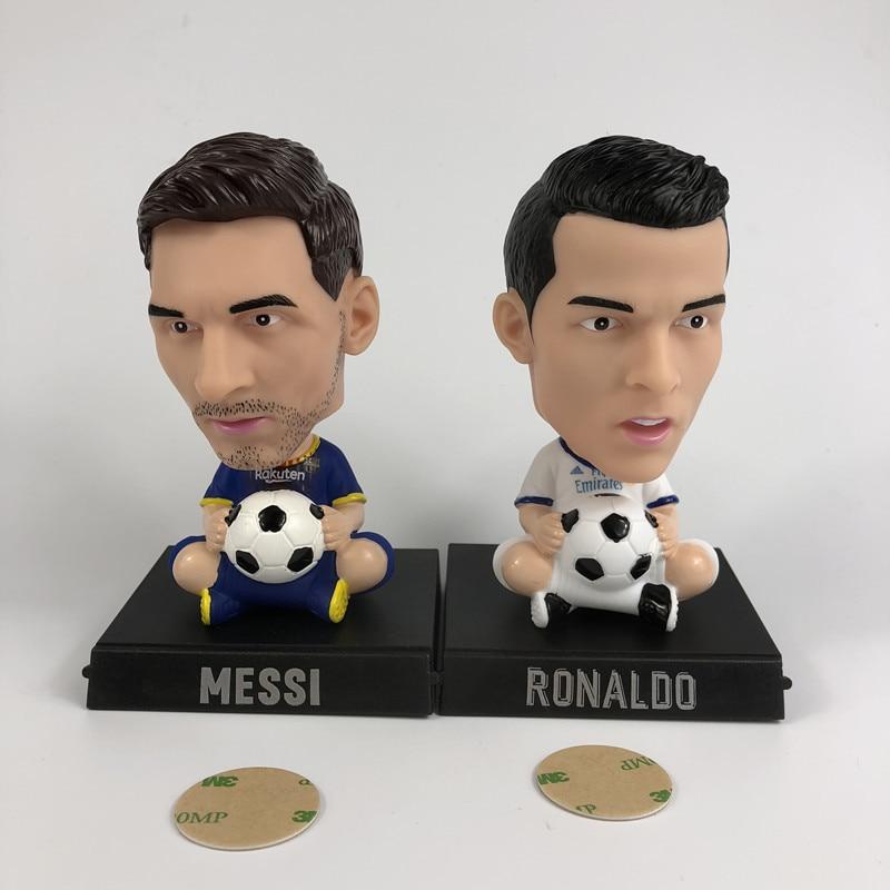 Football stars, Messi C, Ronaldo, shake their heads and make models.