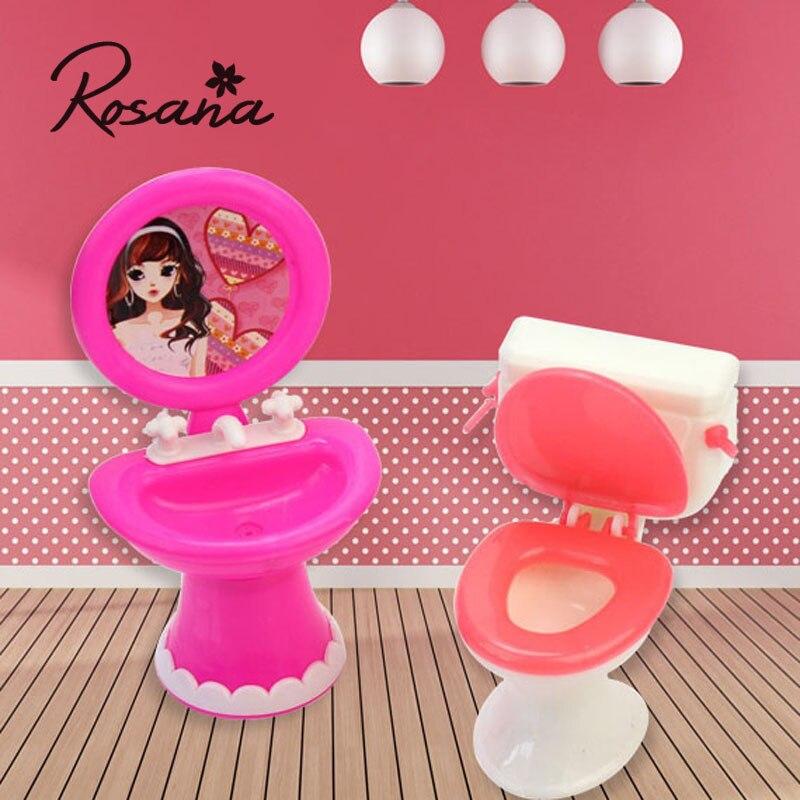 Badrumsmöbler Tillbehör Plasttoalett och handfat för duks hus för Barbie dockor Möbel Tillbehör till Barbie