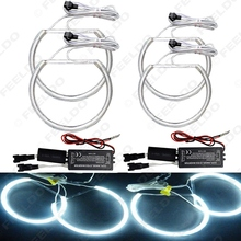 2X 146mm 2X 131.5mm White Car CCFL Halo Rings Angel Eyes LED Headlights for BMW E46(NON projector) Light Kits #FD-4174