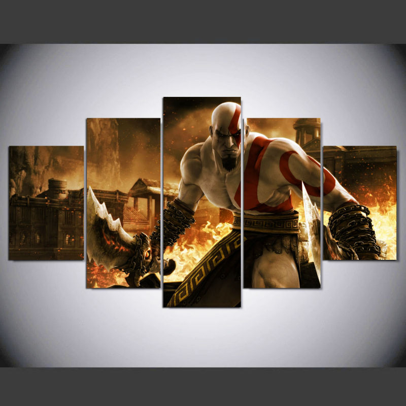 God of War Ascension Kratos 5 Pcs Game Poster Canvas Painting Wall Pictures For Living Room Modular Pictures IM-269