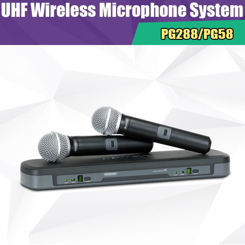 Superior Sound Quality UHF PG288/PG58 Wireless Microphone System Dual Channel Doubled Handheld MIC for Live Show,Free shipping unique 4 channel uhf wireless microphone system