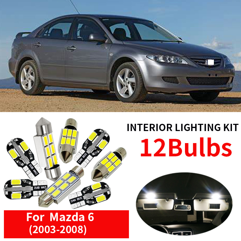 12pcs Car <font><b>LED</b></font> <font><b>Light</b></font> <font><b>Bulbs</b></font> Kit For 2003 2004 2005 2006 2007 2008 <font><b>Mazda</b></font> <font><b>6</b></font> 12V Bright White <font><b>Led</b></font> Map Dome Trunk License Plate Lamp image