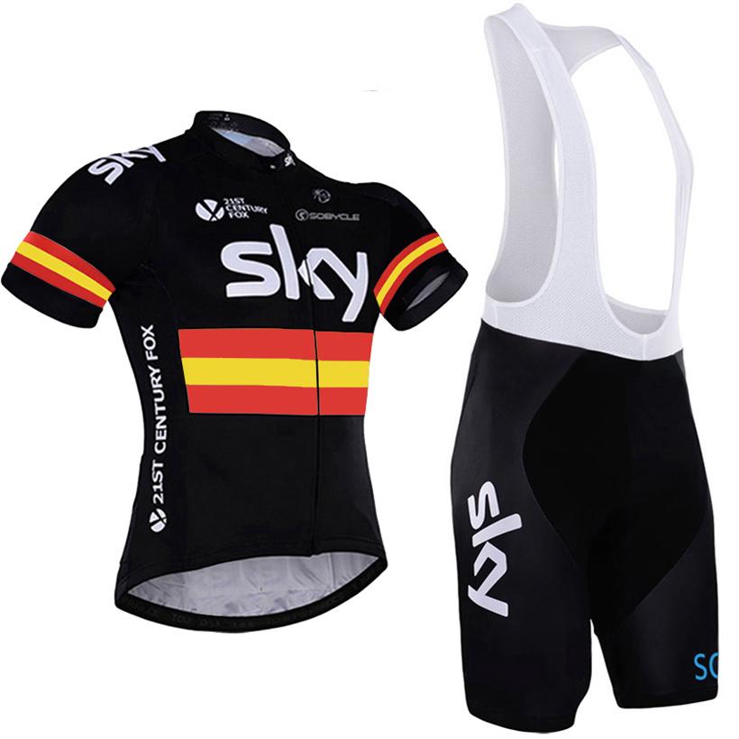 Prix pour 4 couleurs 2017 Nouveau ciel Cycling team jersey vélo court gel pad Rouge bike wear VTT Ropa Ciclismo ciel pro Vélo jersey maillot