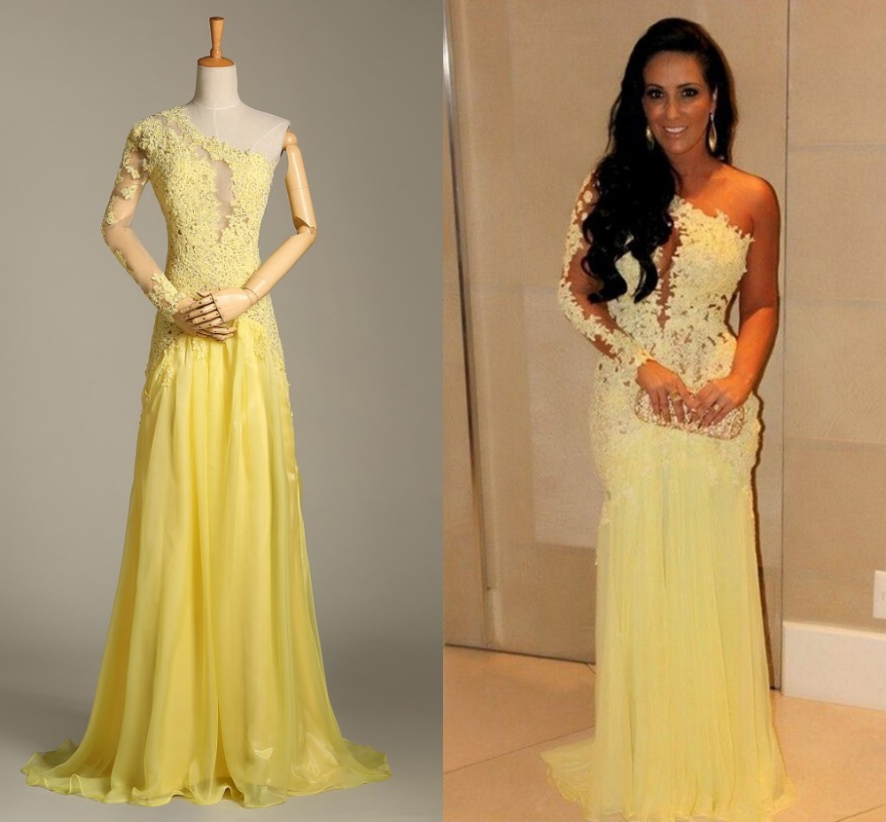 Real Photo Yellow Evening Gown One Shoulder Chiffon Lace Appliques ...