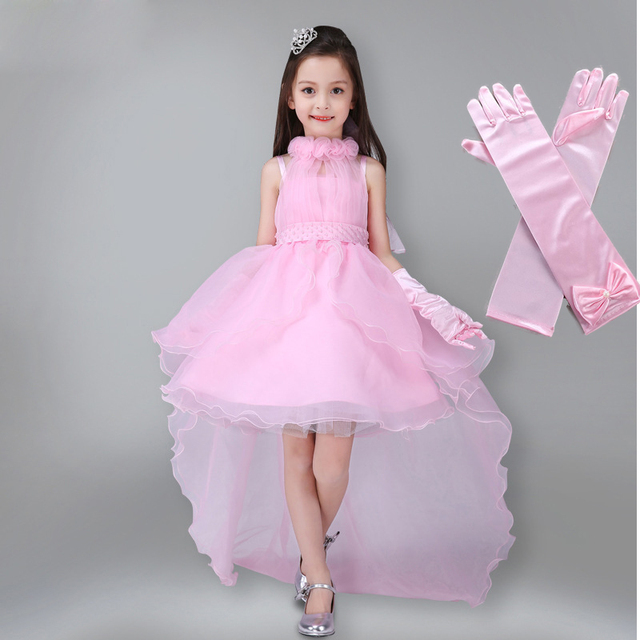 Girls Dress Summer Kids Party Dress Long Tailing Girls Clothes Elegant  Evening Flower Girl Dress Kids Wedding Dress with Gloves bdf43d36085d