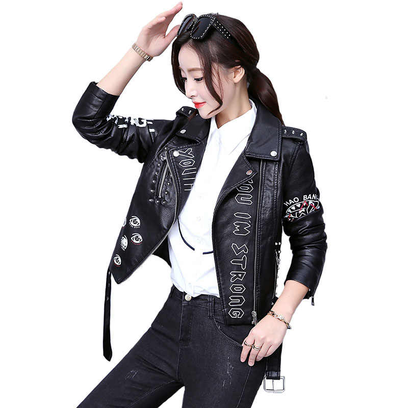 41e0f25b46d High Street Fashion Brand Women Rivets PU Faux Leather jacket Coats punk  rock Graffiti Moto