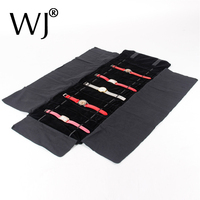 Portable Watch Bracelet Jewellery Roll Up Bag Thick Velvet Package Jewelry Display Holder Stand For Wrist
