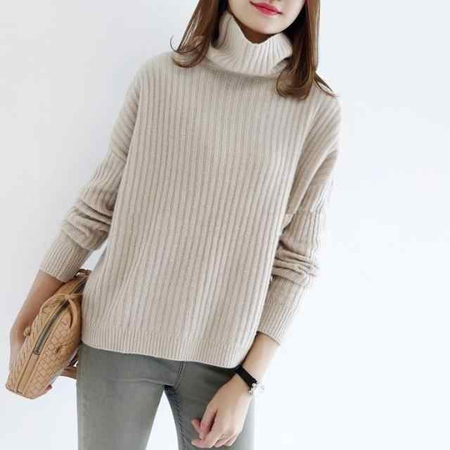 2019 새로운 순수 컬러 캐시미어 스웨터 여성 터틀넥 느슨한 스트 라이프 스타일 겨울 따뜻한 풀오버 여성 패션 캐주얼 스웨터