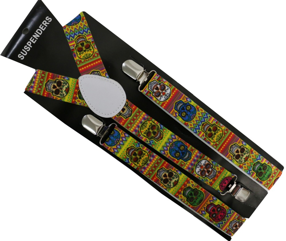 2019 New 2.5 Wide Multicolor Geometric Skull Printed Adjustable Clip-on Suspenders For Women Men