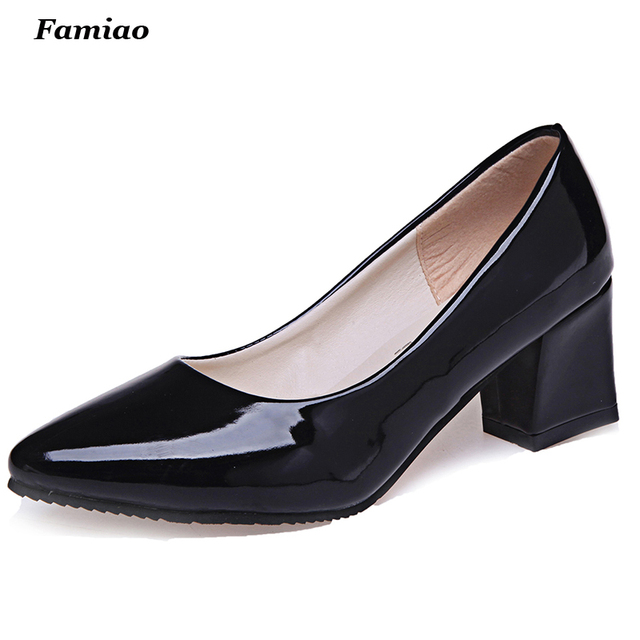 Solid Thick Heels Pumps Pointed Toe Ladies Shoes Spring/Autumn Chaussure Femme Fashion Patent Leather Shoes Woman
