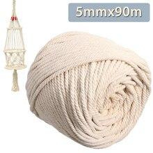 KiWarm 5mmx90m Natural Beige Soft Cotton Twisted Cord Craft Macrame Rope String DIY Handmade Tying Thread Cord Rope