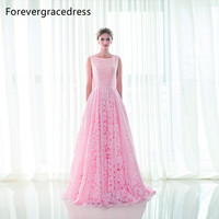 Forevergracedress High Quality A Line Long Evening Dress New Style Scoop Neck Lace Formal Party Gown Plus Size Custom Made