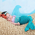 Bebé Infantil Shells Mermaid Tail Foto Atrezzo Crochet Punto Mermaid Costume Set Fotografía Atrezzo Hecho A Mano Estilo Animal SG026