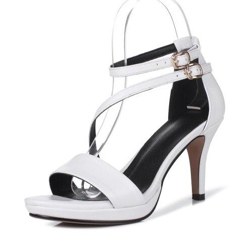 ФОТО (White, black) 2017 Summer Full Grain Leather Women's Thin heel Sexy shoes Fashion elegant party handmade sandals for women